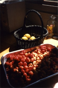 "Kitchen practice: strawberries and lemons (my ""Vermeer""!). ZMM, 6-14-96"
