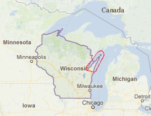 Scale: Fish Creek is 250 miles north of Chicago.