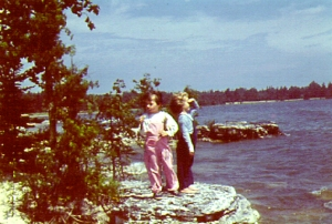 Nancy (left) and Mimsey, Cana Island picnic, 1952