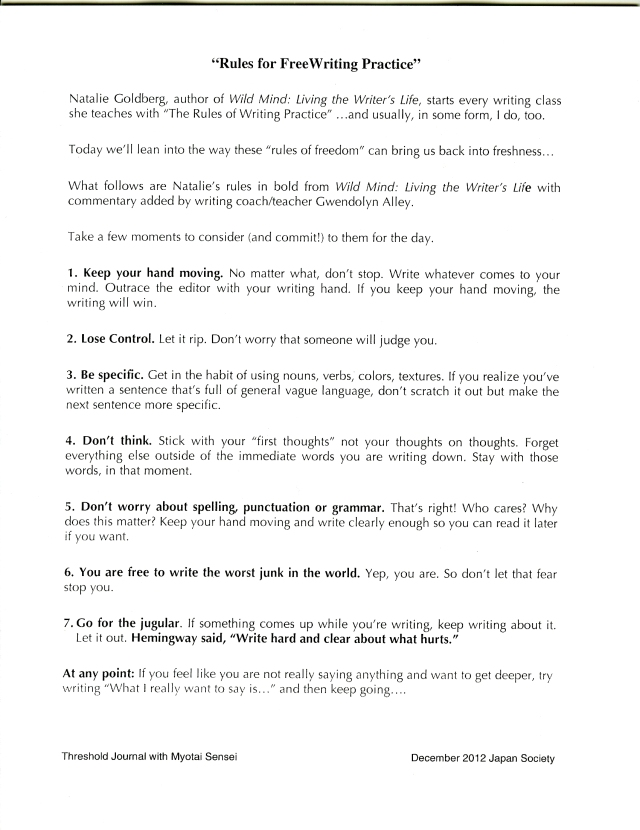 "Natalie Goldberg's ""Rules for FreeWriting Practice"" (click on image to enlarge)"