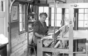 """Tante"" Marie Gatter at her loom"
