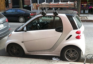 Little Giant ladder on Smart Car