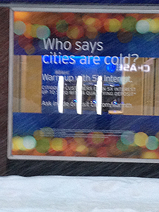 "CitiBank: ""Who says cities are cold?"""