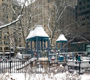 Park playground: cold slide!